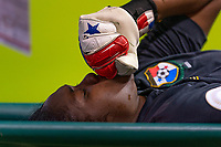 HOUSTON, TX - JANUARY 31: Yenith Bailey #1 of Panama is taken off the field during a game between Panama and USWNT at BBVA Stadium on January 31, 2020 in Houston, Texas.