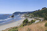 U.S. HIghway 101, also known as Route 101 or the Oregon Coast Highway skkrts Hunters Cove with views to Cape Sebation in the north.