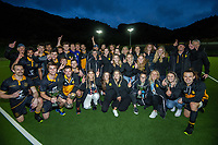 The Dalefield men's and women's teams celebrate taking the double, after the men's premier one Wellington Hockey final between Dalefield and Harbour City at National Hockey Stadium in Wellington, New Zealand on Saturday, 26 September 2020. Photo: Dave Lintott / lintottphoto.co.nz