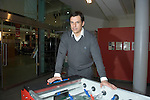 The new Welsh Football Manager Chris Coleman at the Waterfront Museum in Swansea where he held a question and answer sessions with Welsh football fans. He is pictured alongside a table football machine.
