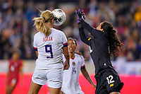 HOUSTON, TX - JANUARY 31: Lindsey Horan #9 of the United States attempts to head a ball past GK Sasha Fabrega #12 of Panama during a game between Panama and USWNT at BBVA Stadium on January 31, 2020 in Houston, Texas.