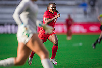 ORLANDO, FL - FEBRUARY 24: Deanne Rose #6 of the CANWNT runs at the ball during a game between Brazil and Canada at Exploria Stadium on February 24, 2021 in Orlando, Florida.