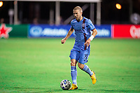 LAKE BUENA VISTA, FL - JULY 14: Anton Tinnerholm #3 of NYFC dribbles the ball during a game between Orlando City SC and New York City FC at Wide World of Sports on July 14, 2020 in Lake Buena Vista, Florida.