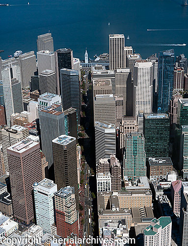 aerial photograph down Market Street in the financial district toward the ferry building, San Francisco, California