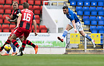 St Johnstone v St Mirren……29.08.20   McDiarmid Park  SPFL<br />Michael O'Halloran's shot is saved<br />Picture by Graeme Hart.<br />Copyright Perthshire Picture Agency<br />Tel: 01738 623350  Mobile: 07990 594431