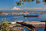Commencement Bay with Mount Rainier in background, as seen from SR 509.  Commencement Bay's history of industry and shipping has led it to designation as one of the most pulluted waterways in the nation.