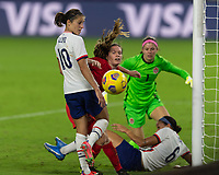 ORLANDO CITY, FL - FEBRUARY 18: Lynn Williams #6 battles Allysha Chapman #2 and Stephanie Labbé #1 for possession during a game between Canada and USWNT at Exploria stadium on February 18, 2021 in Orlando City, Florida.