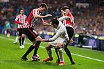 Real Madrid's Gareth Bale and Athletic de Bilbao's Javier Eraso and Inigo Lekue during La Liga Match at Santiago Bernabeu Stadium in Madrid. October 23, 2016. (ALTERPHOTOS/Borja B.Hojas)