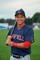 Lowell Spinners Tanner Nishioka (31) poses for a photo before a game against the Batavia Muckdogs on July 12, 2017 at Dwyer Stadium in Batavia, New York.  Batavia defeated Lowell 7-2.  (Mike Janes/Four Seam Images)
