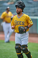 Francisco Arcia (25) of the Salt Lake Bees during the game against the Tacoma Rainiers at Smith's Ballpark on May 16, 2021 in Salt Lake City, Utah. The Bees defeated the Rainiers 8-7. (Stephen Smith/Four Seam Images)