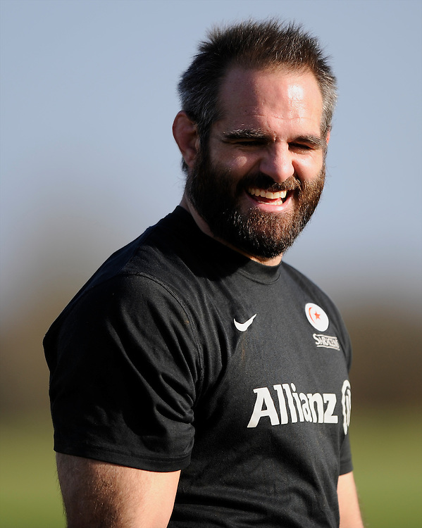 20130131 Copyright onEdition 2013©.Free for editorial use image, please credit: onEdition..Justin Melck during the Saracens Captains Run at Old Albanians Rugby Club, St Albans on Thursday 31st January 2013 (Photo by Rob Munro)..For press contacts contact: Sam Feasey at brandRapport on M: +44 (0)7717 757114 E: SFeasey@brand-rapport.com..If you require a higher resolution image or you have any other onEdition photographic enquiries, please contact onEdition on 0845 900 2 900 or email info@onEdition.com.This image is copyright onEdition 2013©..This image has been supplied by onEdition and must be credited onEdition. The author is asserting his full Moral rights in relation to the publication of this image. Rights for onward transmission of any image or file is not granted or implied. Changing or deleting Copyright information is illegal as specified in the Copyright, Design and Patents Act 1988. If you are in any way unsure of your right to publish this image please contact onEdition on 0845 900 2 900 or email info@onEdition.com
