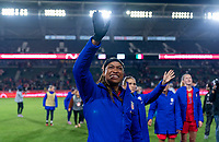 CARSON, CA - FEBRUARY 7: Jess McDonald #14 of the United States waves to the crowd during a game between Mexico and USWNT at Dignity Health Sports Park on February 7, 2020 in Carson, California.