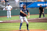 Liberty Flames pitcher Fraser Ellard (46) delivers a pitch to the plate against the Duke Blue Devils in NCAA Regional play on Robert M. Lindsay Field at Lindsey Nelson Stadium on June 4, 2021, in Knoxville, Tennessee. (Danny Parker/Four Seam Images)
