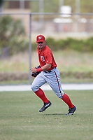 Washington Nationals Nick Banks (3) during practice before a minor league Spring Training game against the St. Louis Cardinals on March 27, 2017 at the Roger Dean Stadium Complex in Jupiter, Florida.  (Mike Janes/Four Seam Images)