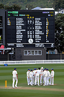 Auckland celebrates dismissing Fraser Colson during day three of the Plunket Shield match between the Wellington Firebirds and Auckland Aces at the Basin Reserve in Wellington, New Zealand on Monday, 16 November 2020. Photo: Dave Lintott / lintottphoto.co.nz