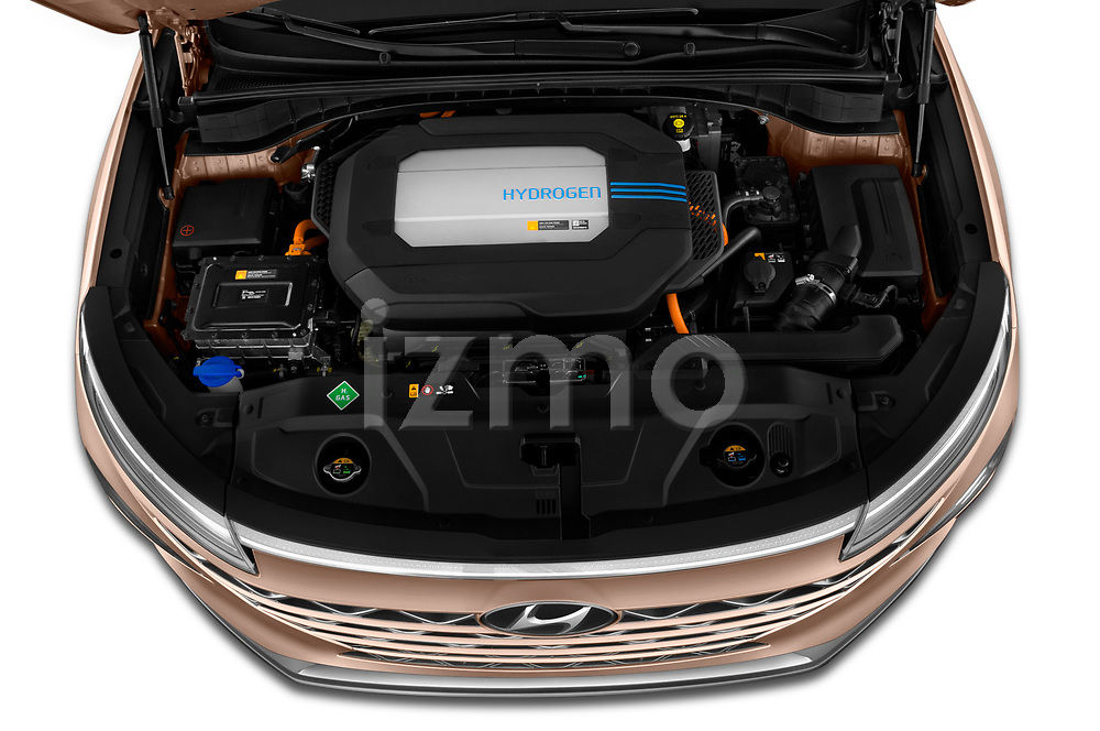 Car Stock 2019 Hyundai Nexo Limited 5 Door SUV Engine  high angle detail view