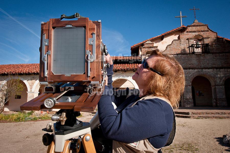 Shooting a real film camera at Mission San Antonio de Padua, California, during the 3rd Al Weber Mission Portfolio Workshop, April 2011.