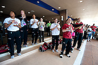 NORFOLK, VA--The Stanford Cardinal enjoys music from the band before heading to the first round matchup against Hampton University at the Ted Constant Convocation Center at Old Dominion University in Norfolk, VA for the 2012 NCAA Championships.
