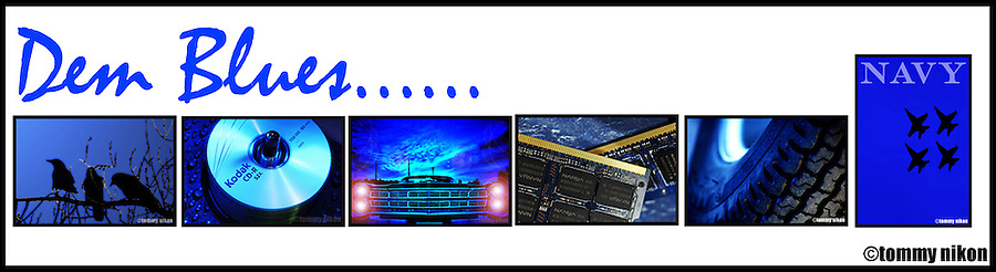 Compilation of shots centered around the color blue