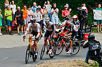 2nd July 2021; Le Creusot, France; MOHORIC Matej (SLO) of BAHRAIN VICTORIOUS, STUYVEN Jasper (BEL) of TREK - SEGAFREDO and VAN MOER Brent (BEL) of LOTTO SOUDAL during stage 7 of the 108th edition of the 2021 Tour de France cycling race, a stage of 248,1 kms between Vierzon and Le Creusot