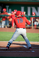 David MacKinnon (19) of the Orem Owlz bats against the Ogden Raptors in Pioneer League action at Lindquist Field on June 21, 2017 in Ogden, Utah. The Owlz defeated the Raptors 16-5. This was Opening Night at home for the Raptors.  (Stephen Smith/Four Seam Images)