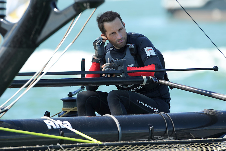 Sir Ben Ainslie (GBR) Land Rover BAR team principal and skipper, JULY 23, 2016 - Sailing: Sir Ben Ainslie (GBR) of Land Rover BAR speaks to the support crew on the radio during day one of the Louis Vuitton America's Cup World Series racing, Portsmouth, United Kingdom. (Photo by Rob Munro/Stewart Communications)