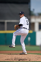 Detroit Tigers pitcher Gio Arriera (57) during a Florida Instructional League game against the Pittsburgh Pirates on October 16, 2020 at Joker Marchant Stadium in Lakeland, Florida.  (Mike Janes/Four Seam Images)