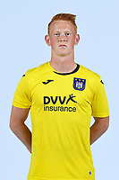 30th July 2020, Turbize, Belgium;  Rik Vercauteren goalkeeper of Anderlecht pictured during the team photo shoot of RSC Anderlecht prior the Jupiler Pro league football season 2020 - 2021 at Tubize training Grounds.