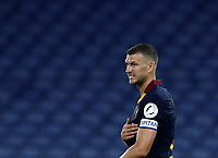 Football, Serie A: AS Roma - Hellas Verona Fc, Olympic stadium, Rome, July 15, 2020. <br /> Roma's captain Edin Dzeko celebrates after scoring during the Italian Serie A football match between Roma and Hellas Verona at Rome's Olympic stadium, on July 15, 2020. <br /> UPDATE IMAGES PRESS/Isabella Bonotto