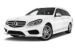 Stock pictures of low aggressive front three quarter view of a 2015 Mercedes Benz Classe E E250 4Matic 5 Door Wagon 4WD Low Aggressive
