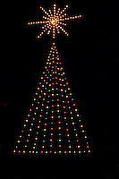 Christmas Lights and Star on Tree