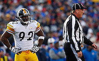 ORCHARD PARK, NY - NOVEMBER 28:  James Harrison #92 of the Pittsburgh Steelers reacts after a roughing the passer call during the game against the Buffalo Bills on November 28, 2010 at Ralph Wilson Stadium in Orchard Park, New York.  (Photo by Jared Wickerham/Getty Images)