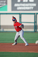 Fort Myers Miracle second baseman Jose Miranda (4) throws to first base during a Florida State League game against the Lakeland Flying Tigers on August 3, 2019 at Publix Field at Joker Marchant Stadium in Lakeland, Florida.  Lakeland defeated Fort Myers 4-3.  (Mike Janes/Four Seam Images)