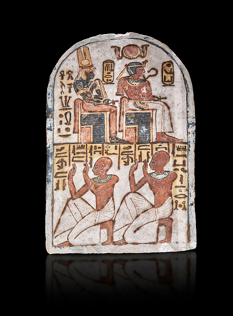 """Ancient Egyptian Stele of Amenemope dedicated to Amenhotep I and Ahmose-Nefertari, limestone, New Kingdom, 19th Dynasty, (1279-1213 BC), Deir el-Medina, Drovetti cat 1454. Egyptian Museum, Turin. black background.<br /> <br /> The stele is dedicated to Amenhotep I and Ahmose-Nefertari by the 'Servant in the Place of Truth' Amenemope and Amennakht. The king and the queen are shown sitting on their thrones. Above the sovereign there is a solar disc flanked by two sacred cobras and their cartouches are shown to the right of each of them. In the bottom register Amenemope is shown with his son  Amennakht, who also was a """"Servant in the Place of Truth"""", in the pose of adoration."""