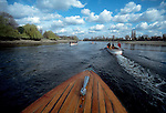 Rowing on the Thames, London, The Boat Race, Oxford workout with classic coaches launches following eight oared shell.