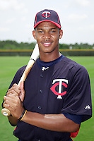 GCL Twins Byron Buxton #62 poses for a photo after a Gulf Coast League game against the GCL Rays at the Charlotte Sports Complex on July 19, 2012 in Port Charlotte, Florida.  GCL Twins defeated the GCL Astros 4-2.  (Mike Janes/Four Seam Images)