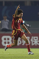 China defender (3) Li Jie celebrates her goal during their first round game at the 2007 FIFA Women's World Cup at Wuhan Sports Center Stadium in Wuhan, China.  China defeated Denmark, 3-2.