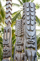 Tiki carved wooden statues at Puuhonua O Honaunau National Historic Park, aka Place of Refuge, Honaunau, Big Island, Hawaii, USA
