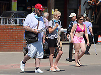 People head to the beach at the popular seaside resort of Skegness as England has it's hottest day of the year with temperatures well into the 30 degrees celcius. Thursday June 25th 2020<br /> <br /> Photo by Keith Mayhew
