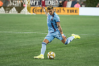 FOXBOROUGH, MA - SEPTEMBER 29: Ronald Matarrita #22 of New York City FC crosses the ball during a game between New York City FC and New England Revolution at Gillettes Stadium on September 29, 2019 in Foxborough, Massachusetts.