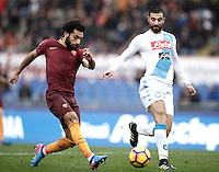 Roma's Mohamed Salah, left, is challenged by Napoli's Raul Albiol during the Serie A soccer match between Roma and Napoli at the Olympic stadium, 4 March 2017.<br /> UPDATE IMAGES PRESS/Isabella Bonotto