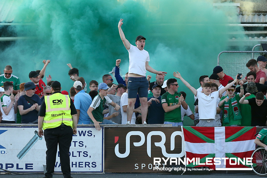 Cork City supporters celebrate their sides goal durning the SSE Airtricity League Premier Division game between Dundalk and Cork City  on Friday 29th June 2018 at Oriel Park, Dundalk, Co Louth. Photo By Michael P Ryan
