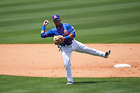 St. Lucie Mets second baseman Phillip Evans (28) throws to first during a game against the Brevard County Manatees on April 17, 2016 at Tradition Field in Port St. Lucie, Florida.  Brevard County defeated St. Lucie 13-0.  (Mike Janes/Four Seam Images)