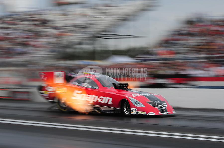 Mar. 10, 2012; Gainesville, FL, USA; NHRA funny car driver Cruz Pedregon during qualifying for the Gatornationals at Auto Plus Raceway at Gainesville. Mandatory Credit: Mark J. Rebilas-