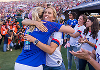 PASADENA, CA - AUGUST 4: Allie Long #20 and Kristine Lilly hug during a game between Ireland and USWNT at Rose Bowl on August 3, 2019 in Pasadena, California.