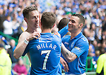 St Johnstone v Dundee United....17.05.14   William Hill Scottish Cup Final<br /> Steven MacLean celebrates his goal with Chris Millar and James Dunne<br /> Picture by Graeme Hart.<br /> Copyright Perthshire Picture Agency<br /> Tel: 01738 623350  Mobile: 07990 594431