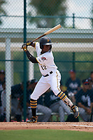 GCL Pirates Tilsaimy Melfor (12) bats during a Gulf Coast League game against the GCL Braves on July 30, 2019 at Pirate City in Bradenton, Florida.  GCL Braves defeated the GCL Pirates 10-4.  (Mike Janes/Four Seam Images)