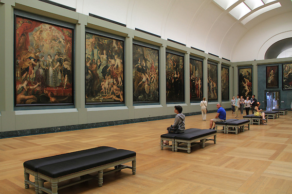 A main gallery in the Louvre Museum in Paris, France.