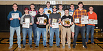 December 17, 2017- Tuscola, IL- The 2017 Tuscola Warrior Football award winners. Back row All-Conference members are Lucas Sluder, Brayden VonLanken, Cale Sementi, Cade Kresin, C.J. Picazo, and Noah Pierce. All-Conference and team award recipients front row from left are Kevin Miller (Most Valuable Defensive Lineman), Andrew Erickson (Huber-Dietrich Tackle Award), Dakota Denny (Warrior Spirit), Dalton Hoel (Most Valuable Player), and Hunter Woodard (Most Valuable Defensive Lineman). Photo: Douglas Cottle]