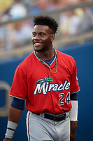 Fort Myers Miracle Akil Baddoo (24) during a Florida State League game against the Charlotte Stone Crabs on April 6, 2019 at Charlotte Sports Park in Port Charlotte, Florida.  Fort Myers defeated Charlotte 7-4.  (Mike Janes/Four Seam Images)
